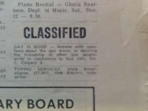 gay is good - classified ad_Dec 1970