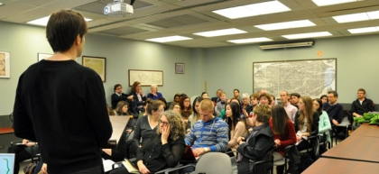 Q&A after queer history presentation at the U of C in 2014