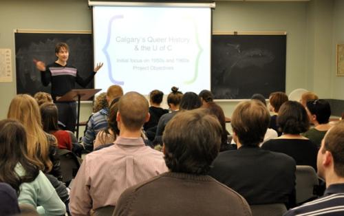 Kevin Allen beginning public presentation at U of C