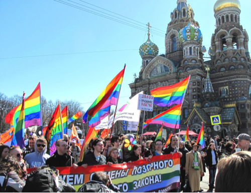 LGBT marchers defy St. Petersburg anti-gay law.  Source: 76 Crimes.