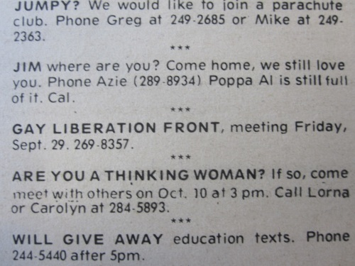 Gay lib front meeting - first ad_announcement_Sept 1972